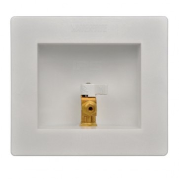 Water-Tite 88482 Round Lead-Free Ice Maker Outlet Box with Hose 1//2 CPVC Connection White Brass Quarter-Turn Valve Installed