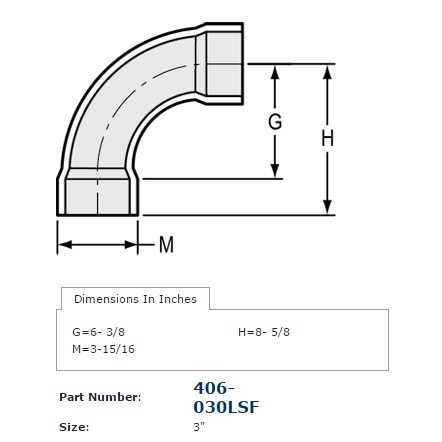 3 Quot Sch 40 Pvc Long Sweep 90 Elbow Soc 406 030lsf