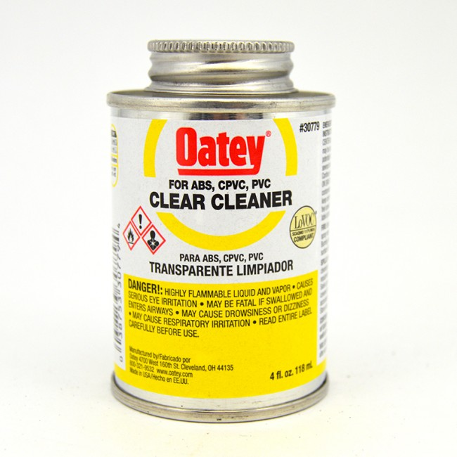 Oatey Clear Cleaner For Pvc Cpvc Abs 1 4 Pint