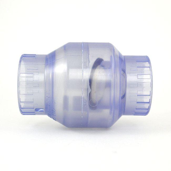 "Plastic Hose Clamps >> 2"" Clear PVC Swing Check Valve - Socket (S1520C-20)"