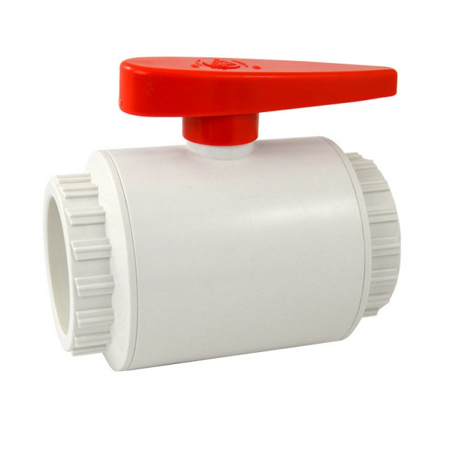 Quot deluxe compact pvc ball valve white socket