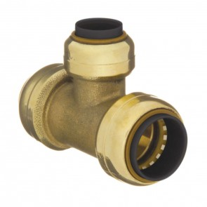 "10155498 1 x 1 x 3/4"" Brass Push Fit Reducer Tee"