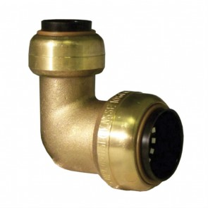"10155537 1/2 x 3/8"" Brass Push Fit 90 Degree Reducing Elbow"