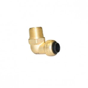 """10177467 1/4 x 3/8"""" Brass Push Fit 90 Degree Male Elbow"""