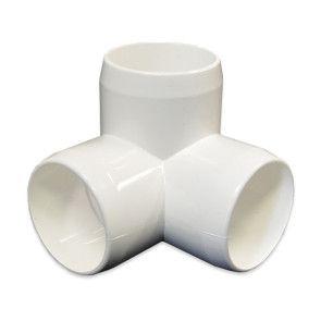 """2"""" 3-Way Elbow PVC Furniture Fitting - White"""