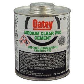 Oatey Medium Clear PVC Cement - Quart (31020)