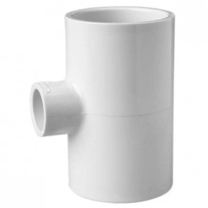 "6"" x 6"" x 2"" Scedule 40 PVC Reducing Tee - Socket x Socket x Socket (401-528)"