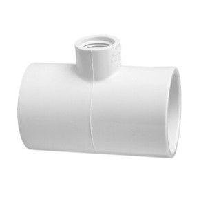 "4"" x 4"" x 1-1/2"" Schedule 40 PVC Reducing Tee - Socket x Socket x FIPT (402-419)"