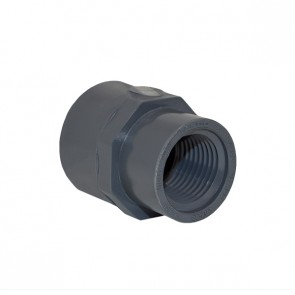 "3/4"" x 1/2"" Schedule 40 Gray Reducer Coupling FPT x FPT - 1/2"" End"