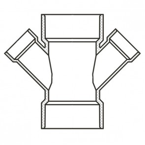 "4"" x 2-1/2"" Sch 40 PVC Reducing Double Wye Soc 476-421F"