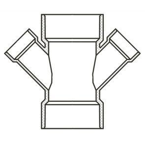 "6"" x 2-1/2"" Sch 40 PVC Reducing Double Wye Soc 476-529F"
