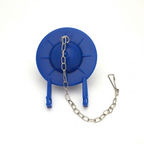 blue rubber toilet flapper with chain top