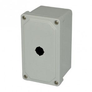 AM1PB22 7x4x3 NEMA 4X INLINE PB Fiberglass Enclosure w/ Lift-Off Screw Cover 1 PB Cutout 22.5MM