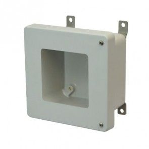 AM664HW 6x6x4 NEMA 4X Fiberglass Enclosure w/ Hinged Screw Cover Window