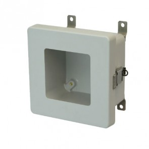 AM664LW 6x6x4 NEMA 4X Fiberglass Enclosure w/ Quick-Release Latch Hinged Cover Window