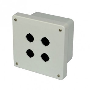 AM664P4 6x6x4 NEMA 4X Fiberglass Enclosure w/ Lift-Off Screw Cover 4 PB Cutouts 30.5MM