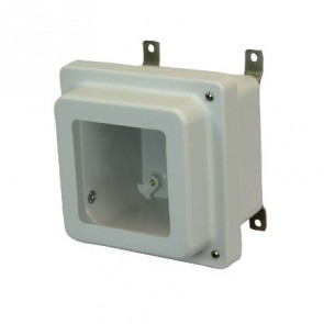 AM664RHW 6x6x4 NEMA 4X Fiberglass Enclosure w/ Raised Hinged Screw Cover Window