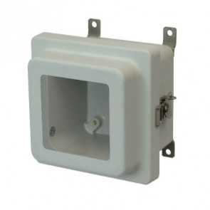 AM664RTW 6x6x4 NEMA 4X Fiberglass Enclosure w/ Raised Twist Latch Hinged Cover Window