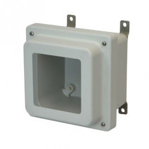 AM664RW 6x6x4 NEMA 4X Fiberglass Enclosure w/ Raised Lift-Off Screw Cover Window