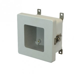 AM664TW 6x6x4 NEMA 4X Fiberglass Enclosure w/ Twist Latch Hinged Cover Window
