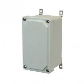 AM743 7x4x3 NEMA 4X JUNC Fiberglass Enclosure w/ Lift-Off Screw Cover SS Mounting Feet