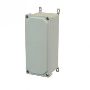 AM943 9x4x3 NEMA 4X JUNC Fiberglass Enclosure w/ Lift-Off Screw Cover SS Mounting Feet