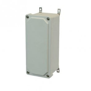 AM943 9x4x3 NEMA 4X JUNC Fiberglass Enclosure w/ Lift-Off Screw Cover SS Mounting Feet
