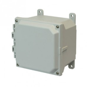 AMU664 6x6x4 NEMA 4X Fiberglass Enclosure w/ Lift-Off Screw Cover Foot Mount