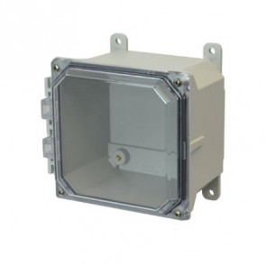 AMU664CC 6x6x4 NEMA 4X Fiberglass Enclosure w/ Clear Lift-Off Screw Cover Foot Mount