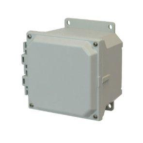 AMU664F 6x6x4 NEMA 4X Fiberglass Enclosure w/ Lift-Off Screw Cover Flange Mount