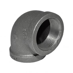 "1-1/4"" Black Malleable Iron 90 Elbow"
