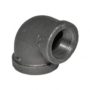 "1"" x 3/4"" Black Malleable Iron 90 Elbow - 3/4"" end"
