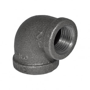 "3/4"" x 1/2"" Black Malleable Iron 90 Elbow - 1/2"" end"