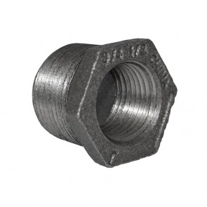 "3/4"" x 1/2"" Black Malleable Iron Hex Bushing"