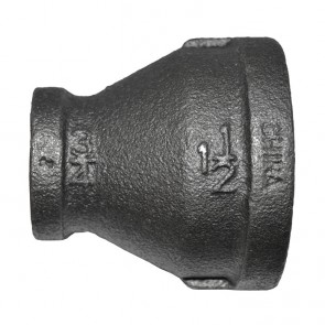 "1-1/2"" x 3/4"" Black Malleable Iron Reducer Coupling"