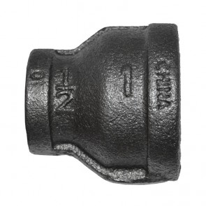 "1"" x 1/2"" Black Malleable Iron Reducer Coupling"
