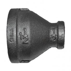 "1-1/2"" x 1/2"" Black Malleable Iron Reducer Coupling"