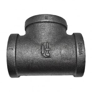 "1-1/4"" Black Malleable Iron Tee Fitting"