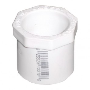 "1"" x 1/2"" Schedule 40 PVC Reducer Bushing - Spigot x Socket (437-130)"