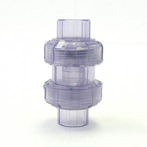 "1/2"" Clear PVC True Union Ball Check Valve"