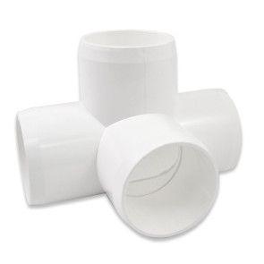 1-1/2 4 Way Fitting - Furniture Grade PVC