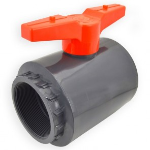 "4"" Flui-PRO PVC Compact Ball Valve - Gray / Threaded (FP-GT-040)"