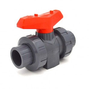 "1/2"" Flui-PRO [PRO SERIES] PVC True Union Ball Valve – SOC / NPT – Viton"