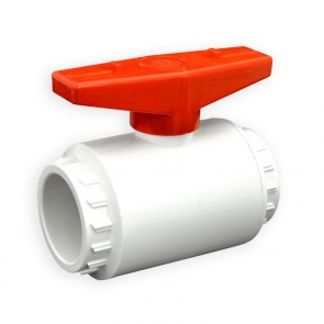 "1-1/2"" Flui-PRO PVC Compact Ball Valve - White / Socket (FP-WS-015)"