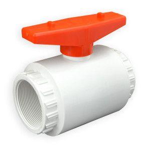 "1-1/2"" Flui-PRO PVC Compact Ball Valve - White / Threaded (FP-WT-015)"