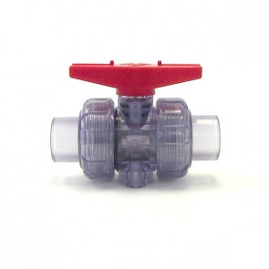 Clear Plastic True Union Valve with Red Handle