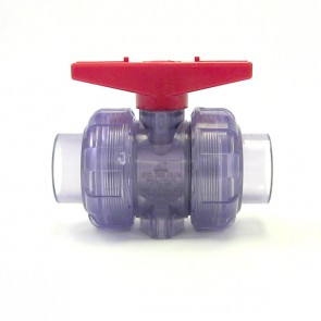 "1-1/4"" Clear PVC True Union Ball Valve"
