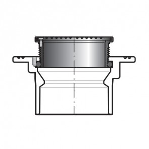 """1-1/2"""" x 6"""" DWV PVC Floor Drain w/ Round Grate P1600-015S"""