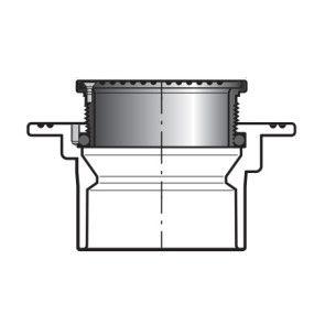 """1-1/2"""" x 8"""" DWV PVC Floor Drain w/ Round Grate P1800-015S"""
