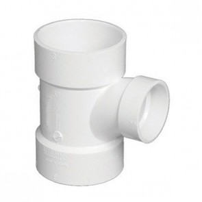 "3"" x 3"" x 1-1/2"" DWV PVC Sanitary Reducing Tee D401-337"